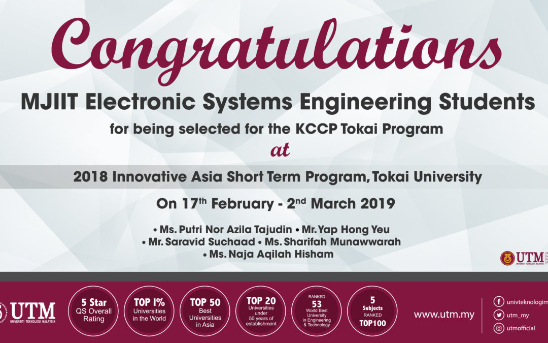 5 Electronic System Engineering Students Selected for KCCP-Tokai Program in Japan
